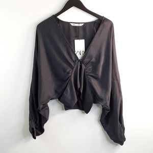 ZARA Crop Top With Buttons Small Dark Gray